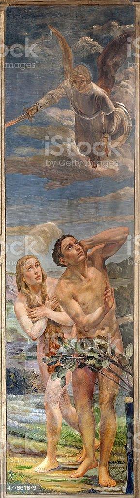 Verona - Eexpulsion of Adam and Eva from Paradise vector art illustration