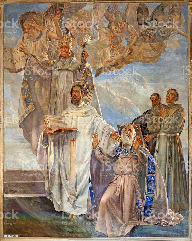 Verona - Fresco of four big Teachers in San Bernardino vector art illustration