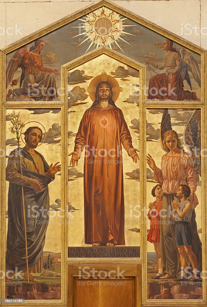 Verona - Heart of Christ painting form in San Zeno royalty-free stock vector art
