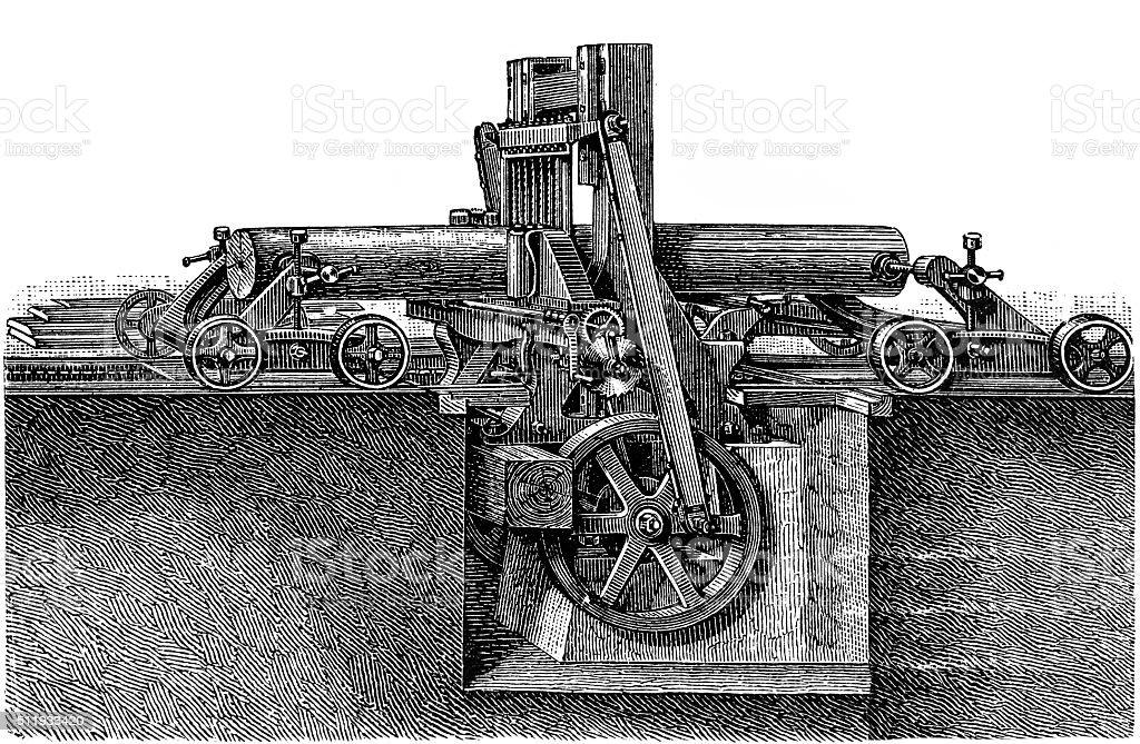 Vertical frame saw vector art illustration