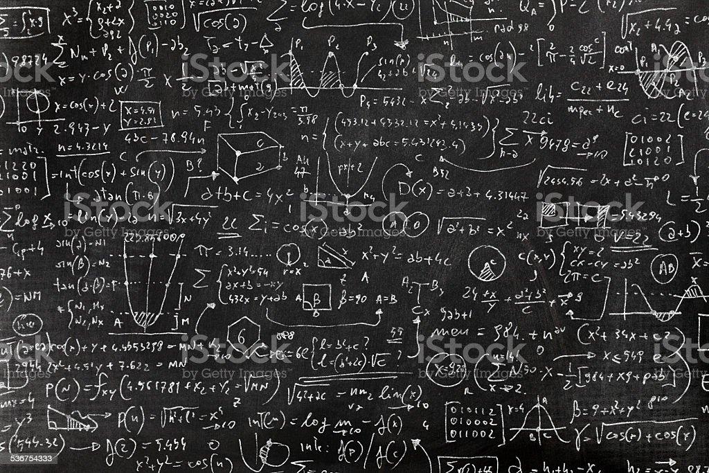 Very complicated math formula on blackboard vector art illustration