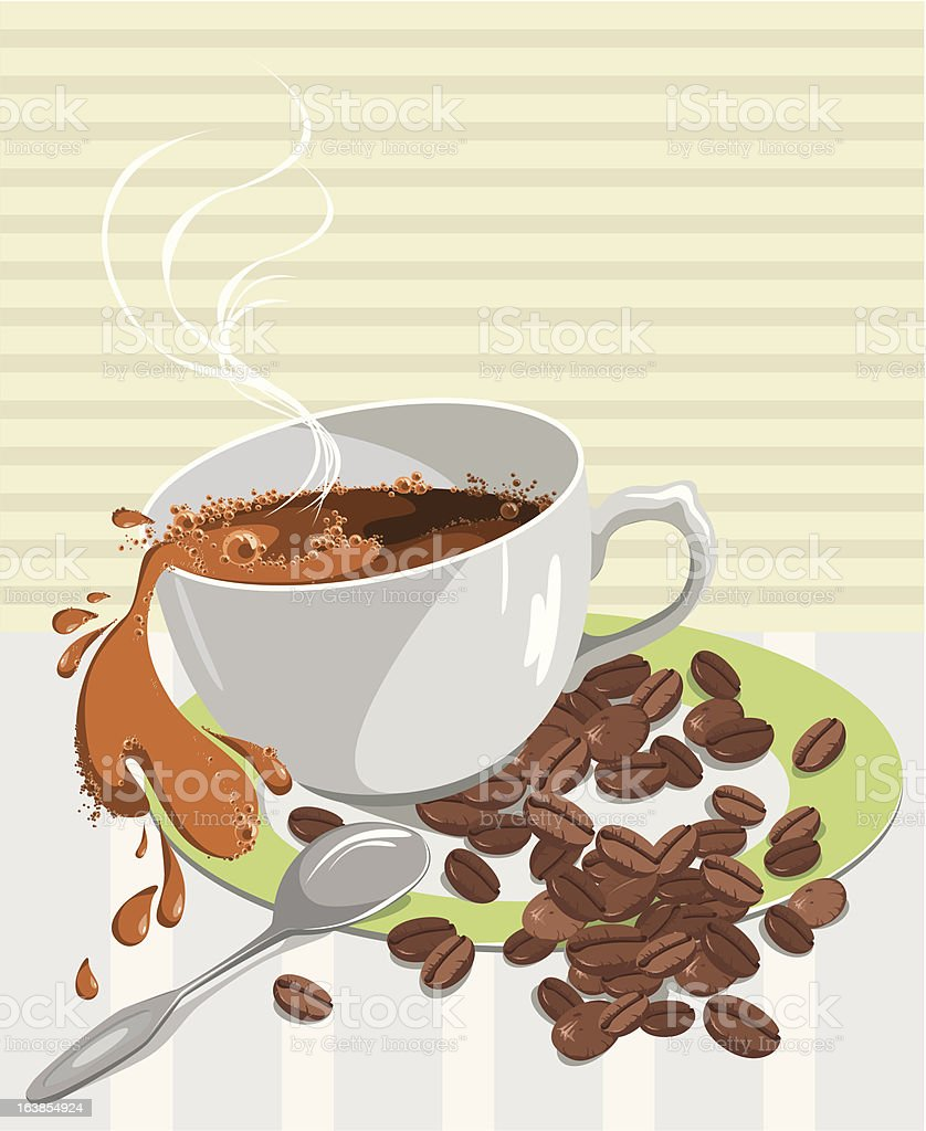 very hot cup of coffee royalty-free stock vector art
