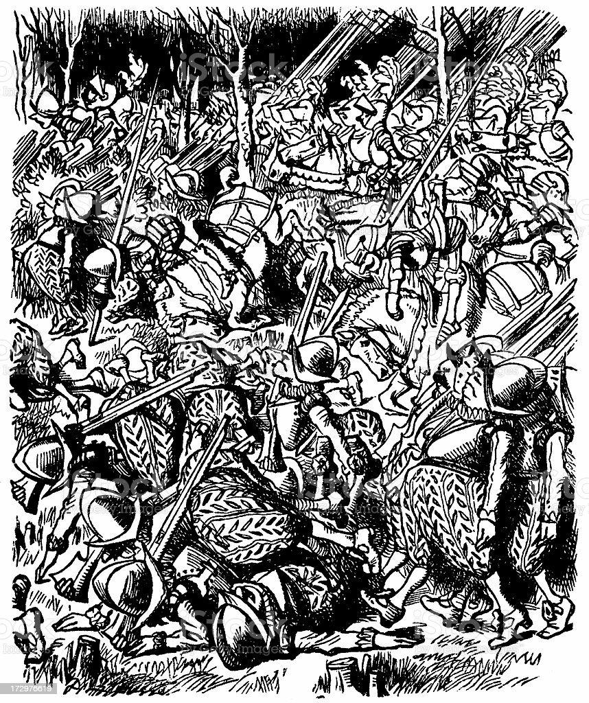 Very lively illustration entitled 'Battle' (Alice's Adventures in Wonderland) royalty-free stock vector art