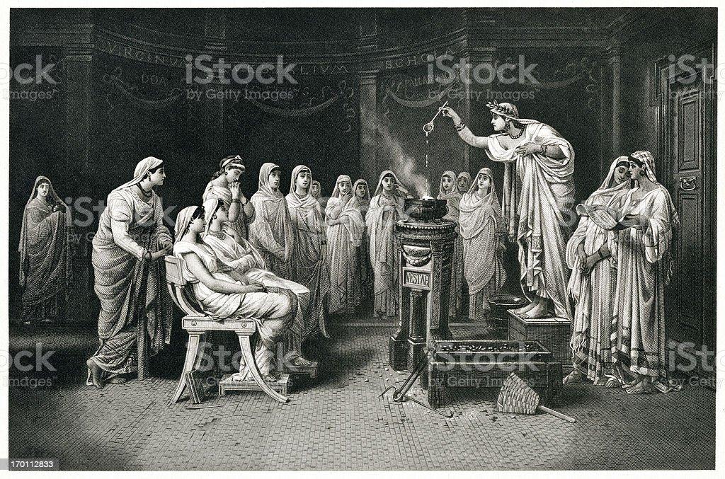 Vestal Virgins vector art illustration