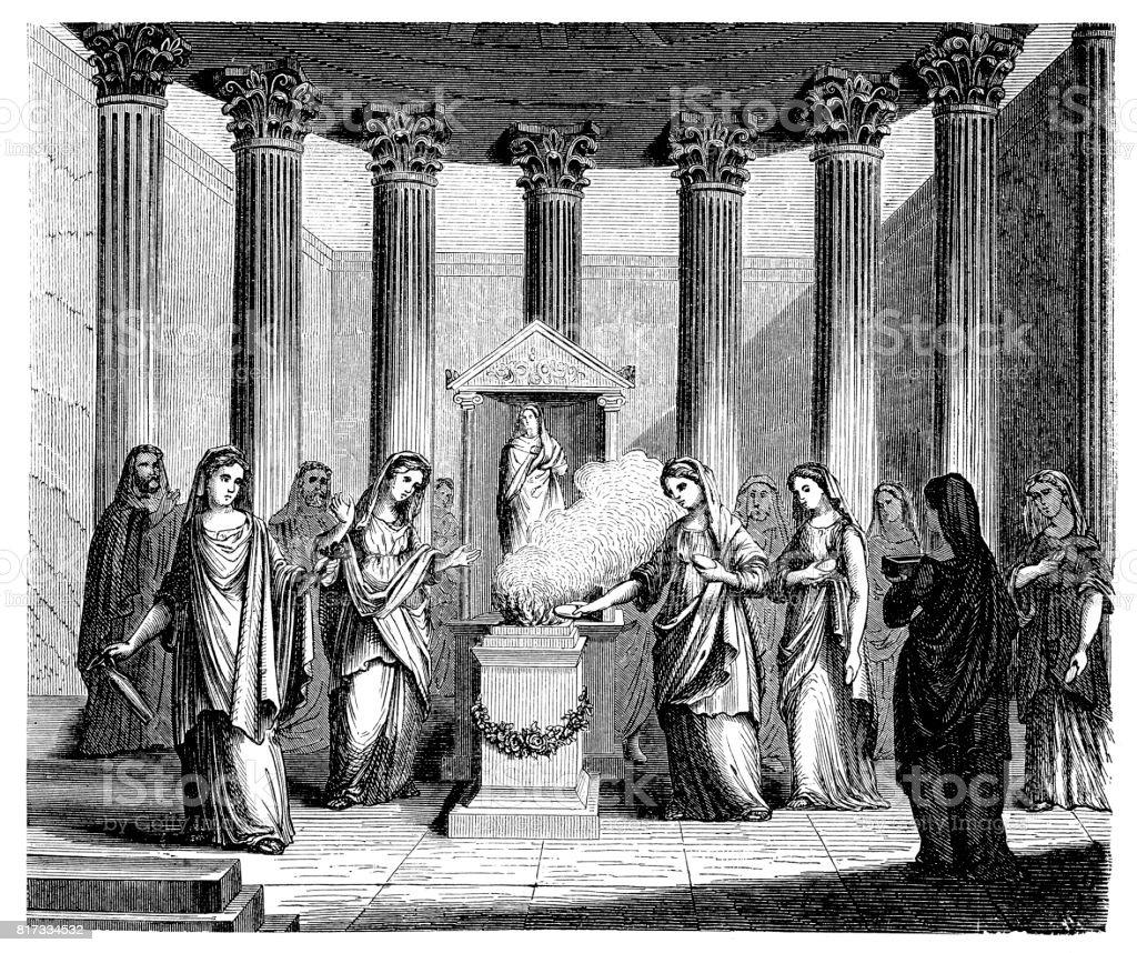 Vestal Virgins, priestesses in ancient Rome vector art illustration