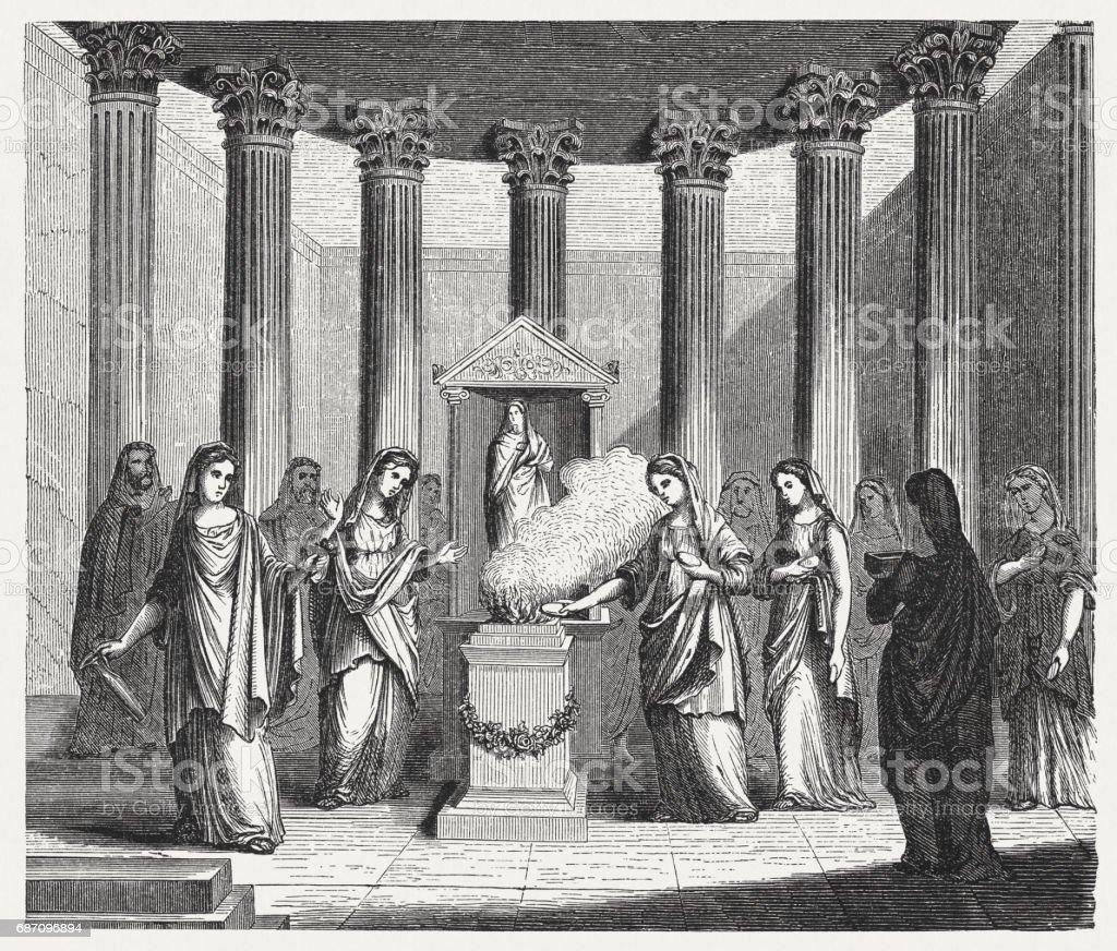 Vestal Virgins, priestesses in ancient Rome, wood engraving, published 1880 vector art illustration