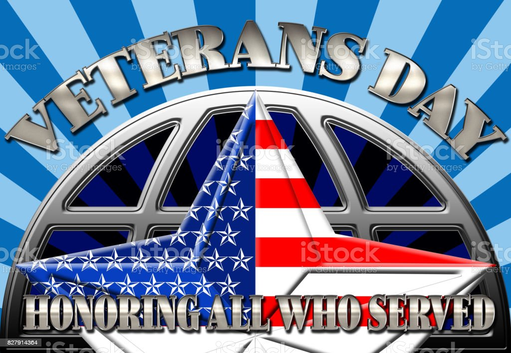 Veterans Day, 3D, Honoring all who served, bright rays of light in blues, star with the American flag. vector art illustration