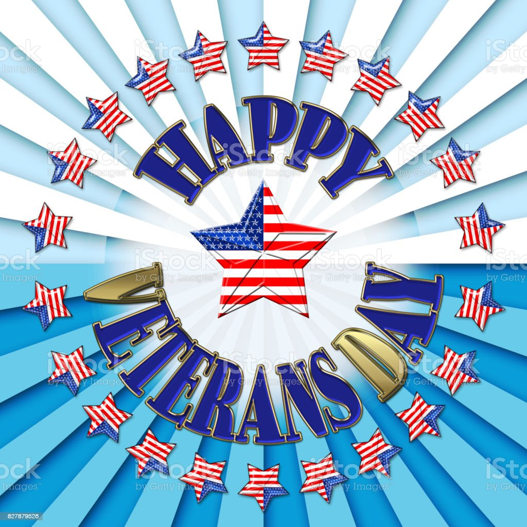 Veterans Day, 3D, Honoring all who served, bright rays of light in white and blues, star with the American flag. vector art illustration