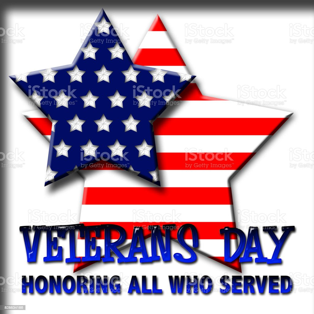 Veterans Day, 3D, Honoring all who served, isolated against the white background, stars with the colors of the American flag. vector art illustration