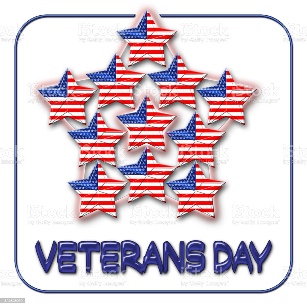 Veterans Day, American Flag designed Stars, 5 pointed stars with the the American Blue, Red and white, Stars and stripes, isolated against the white background. vector art illustration