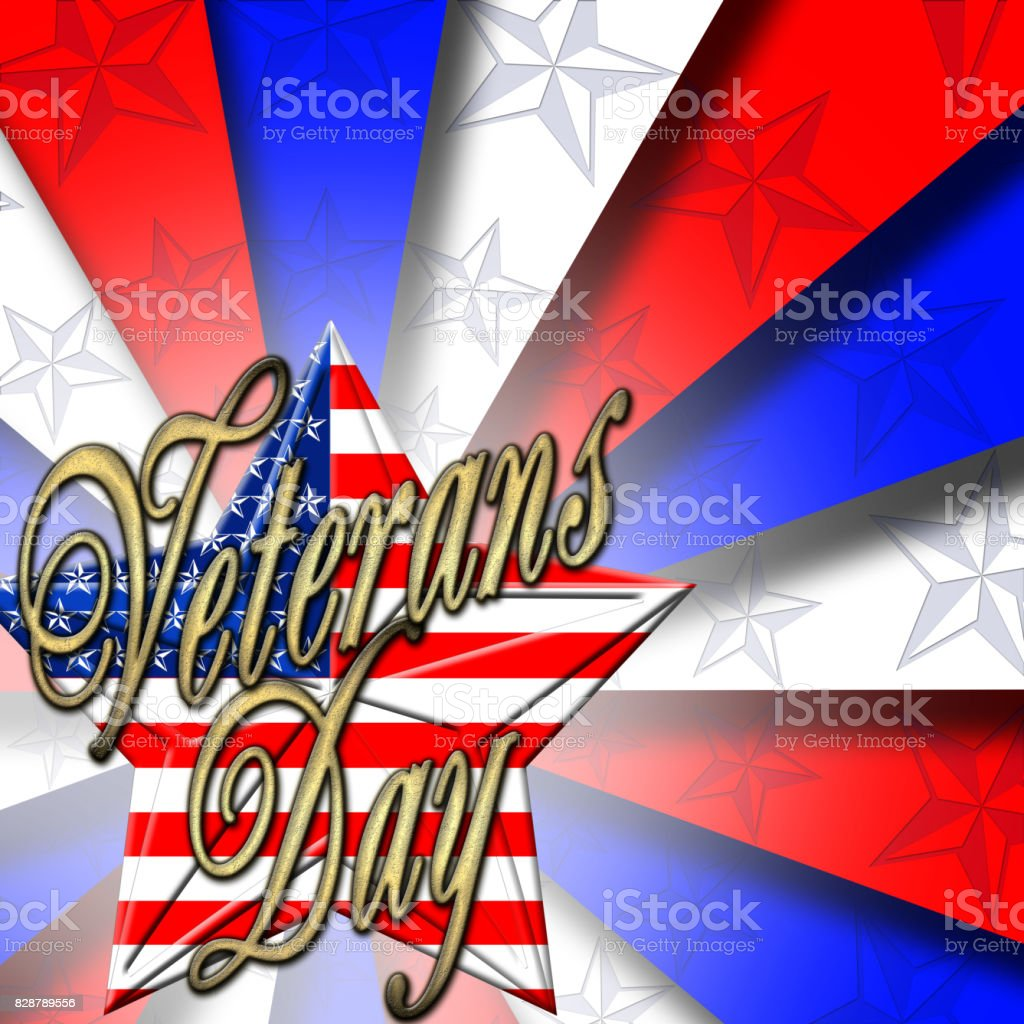3D, Veterans Day, bright rays of light in red, white and blue, star with the American flag. vector art illustration