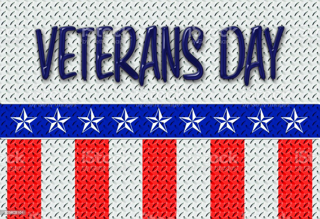 Veterans Day, Heavy large diamond steel plate, colored  in  blue, red and white stripes, white stars, useful as a background vector art illustration