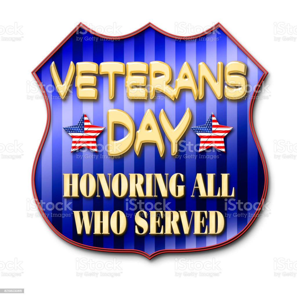 Veterans Day, Honoring all who served, badge with shiny golden text, blue and blue striped background vector art illustration