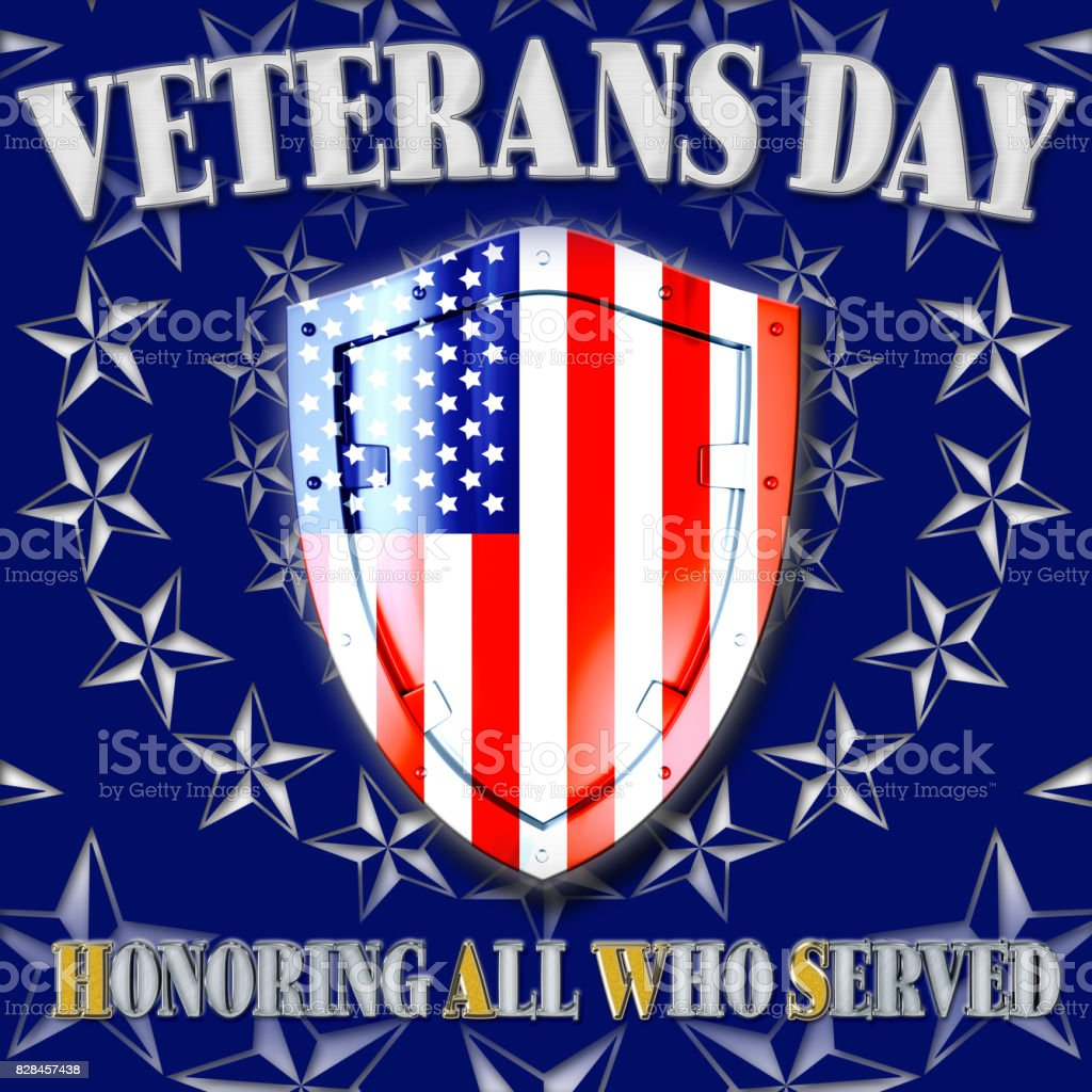 3D, Veterans Day, Honoring all who served, rays of white stars, coat of arms in the colors of the American flag. vector art illustration