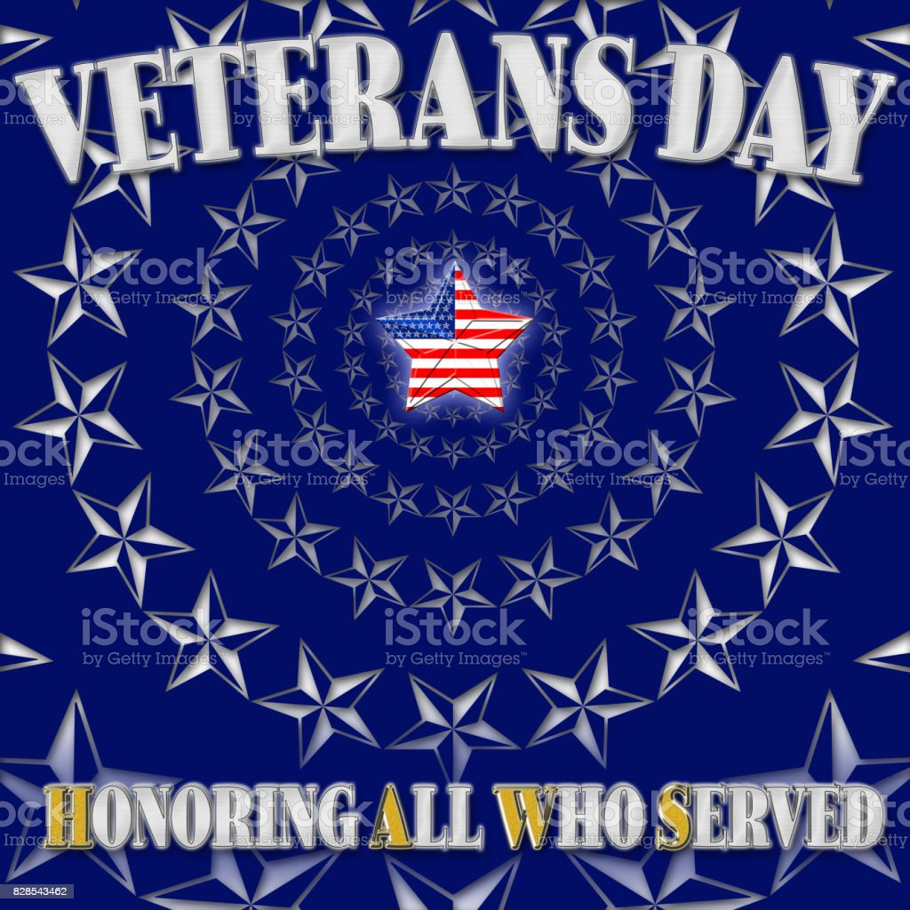 Veterans Day, Honoring all who served, rays of white stars, coat of arms in the colors of the American flag, 3D, illustration. vector art illustration