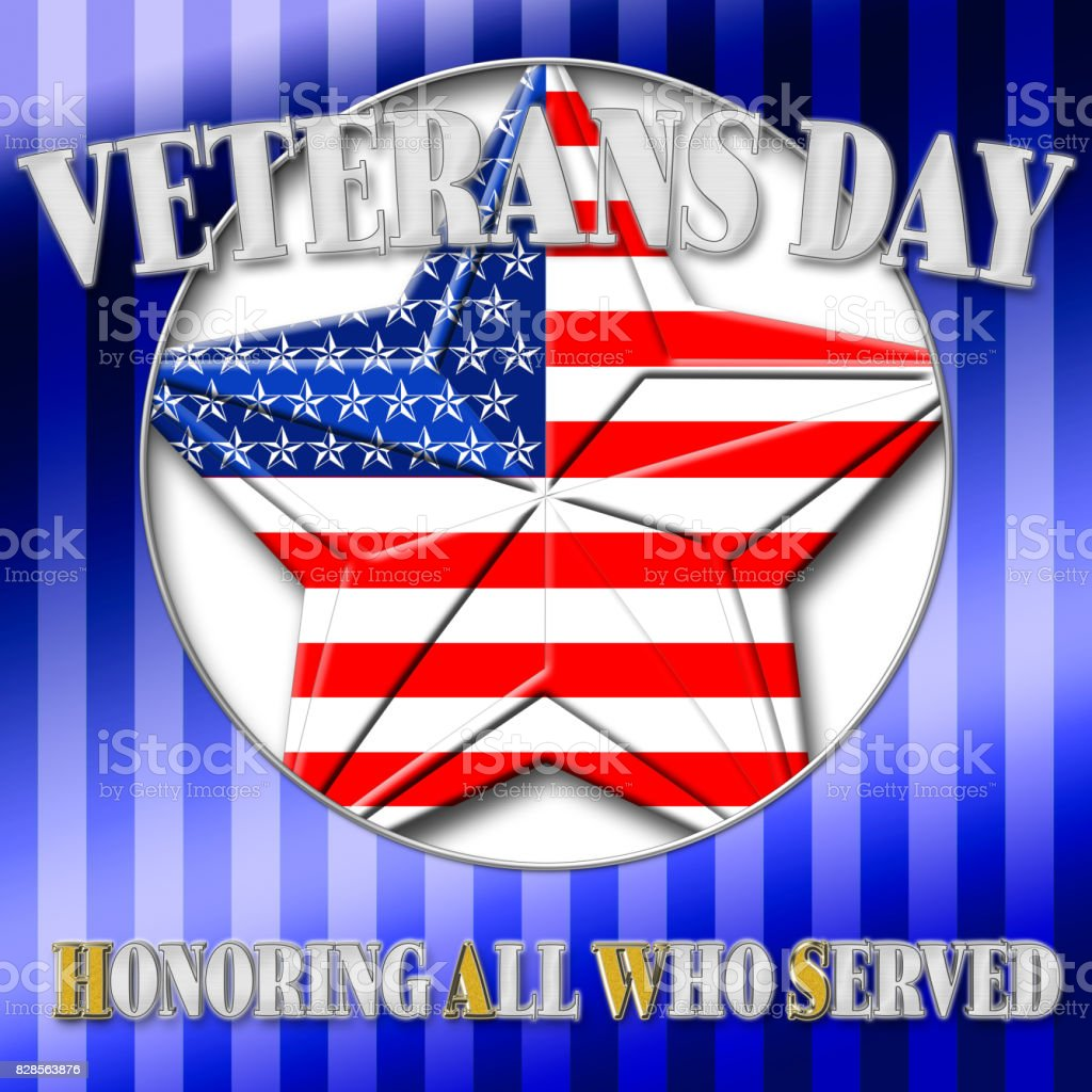 Veterans Day, Honoring all who served, Star in the colors of the American flag, 3D, illustration. vector art illustration