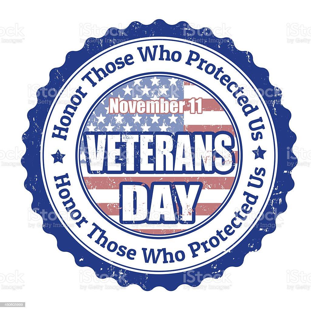 Veterans Day stamp vector art illustration