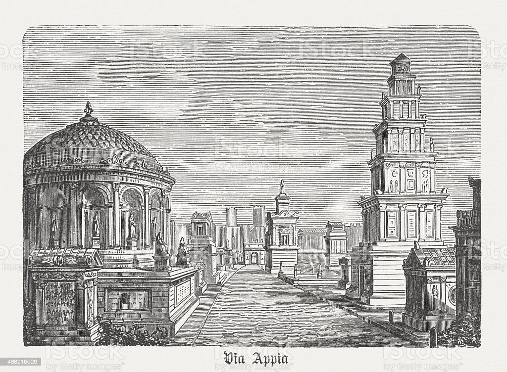 Via Appia - famous road in ancient Rome, published in 1878 vector art illustration