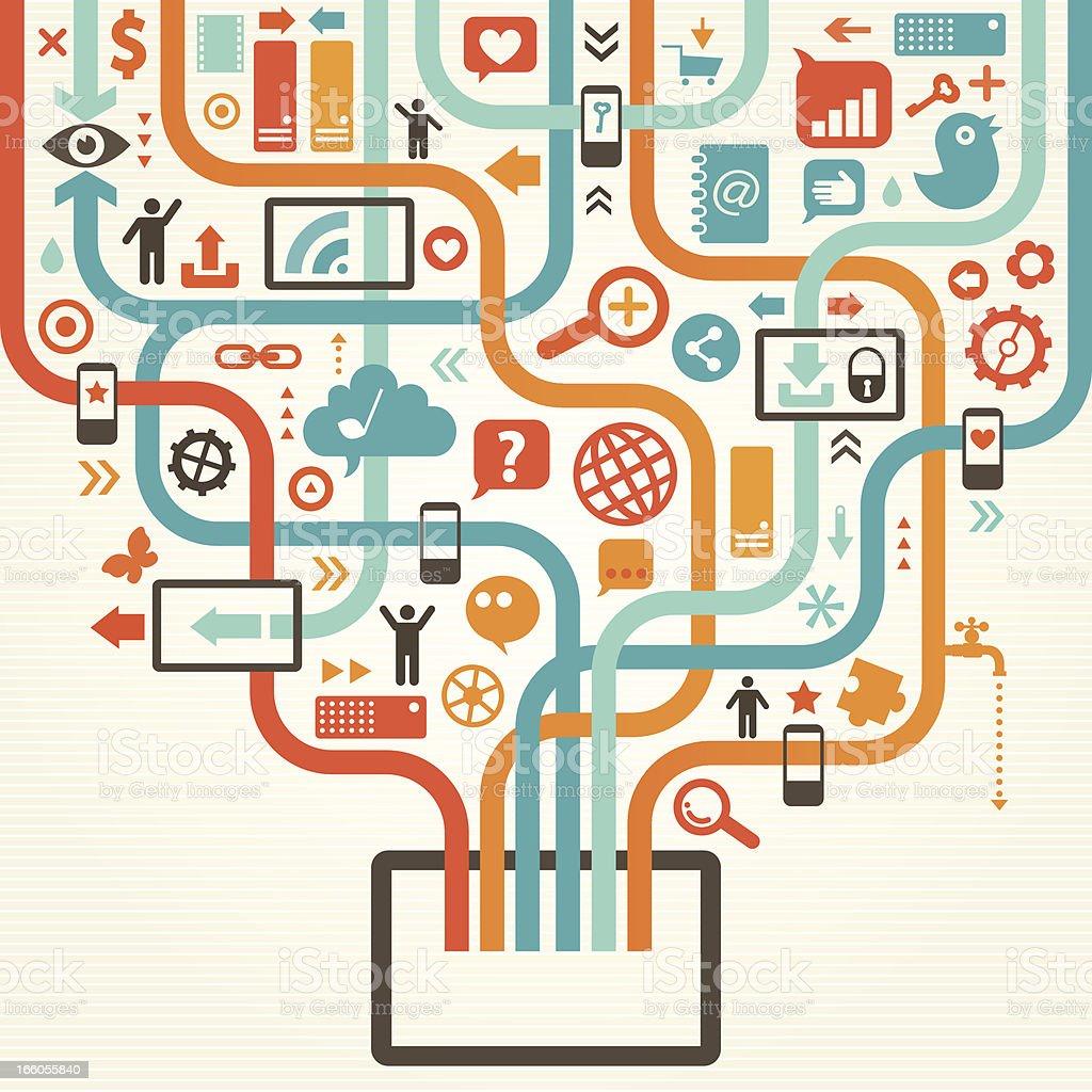 Vibrant design illustrating social media network royalty-free stock vector art