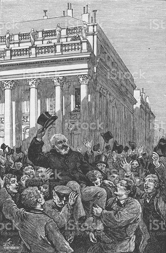 Victor Hugo at Bordeaux Engraving 1886 royalty-free stock vector art