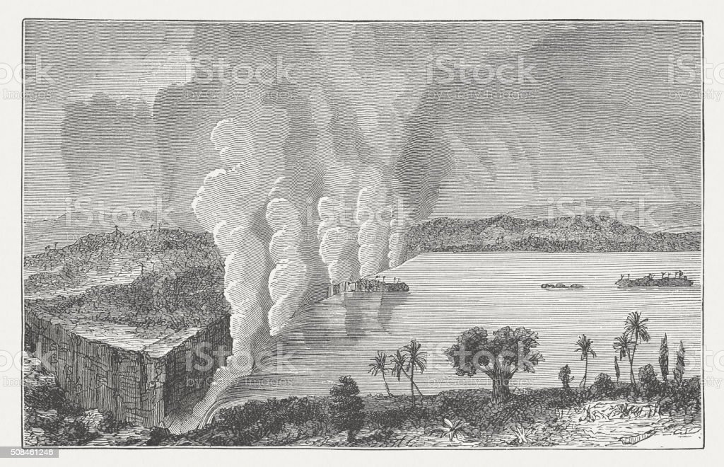 Victoria Falls of Zambezi River, wood engraving, published in 1882 vector art illustration