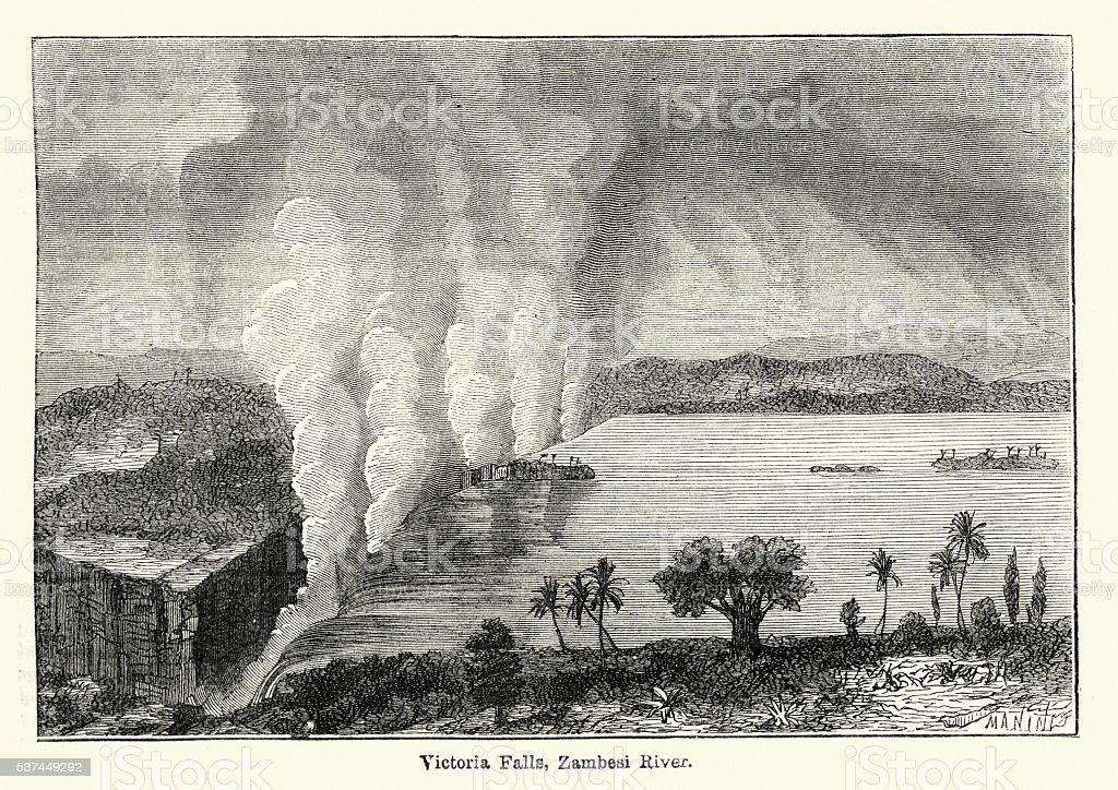 Victoria Falls, Zambesi River, 19th Century vector art illustration