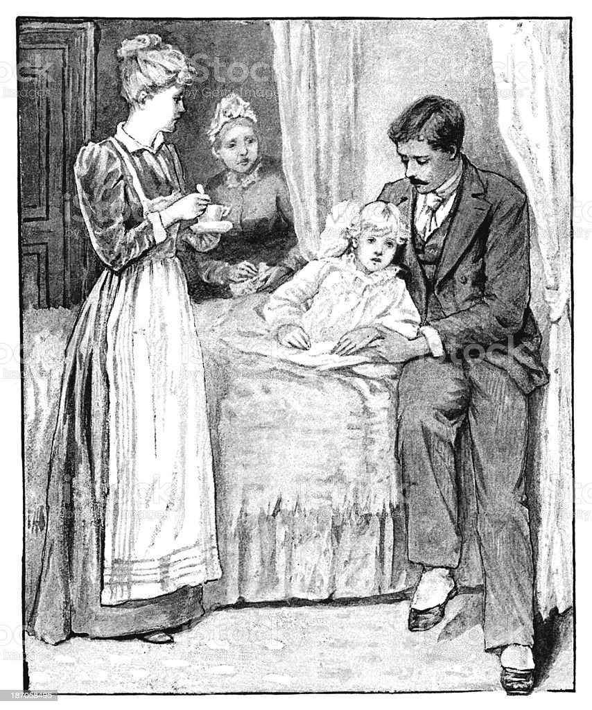 Victorian adults tending to a sick child royalty-free stock vector art