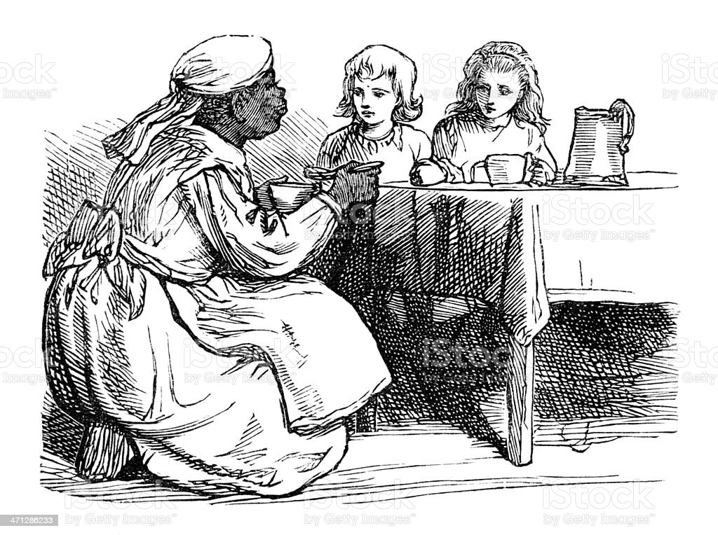 Victorian Afro-Caribbean nanny giving the chidren their supper vector art illustration