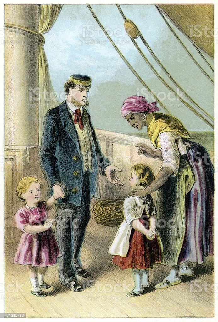 Victorian Afro-Caribbean nurse, children and officer on board ship vector art illustration