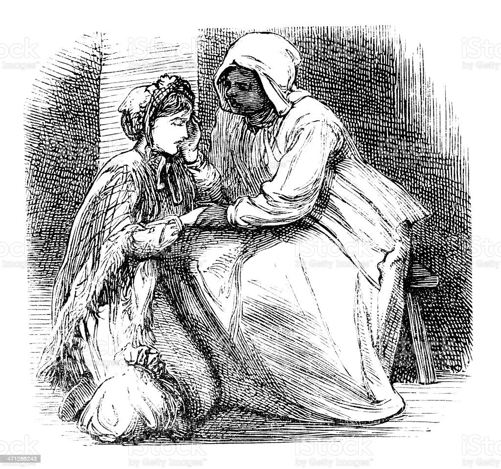Victorian Afro-Caribbean woman comforting a young lady vector art illustration