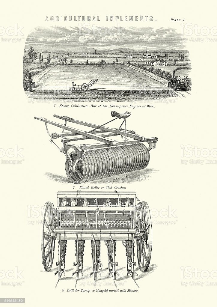 Victorian Agriculture Machines vector art illustration