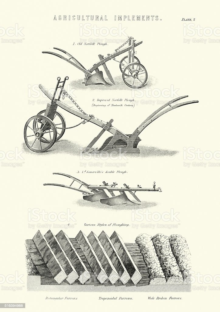 Victorian Agriculture - Ploughs and Furrows vector art illustration