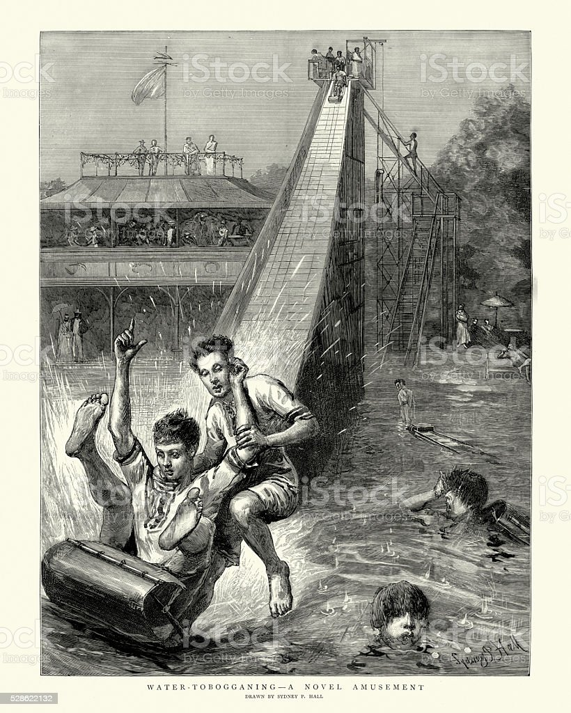 Victorian Amusement Park - Children water tobogganing vector art illustration