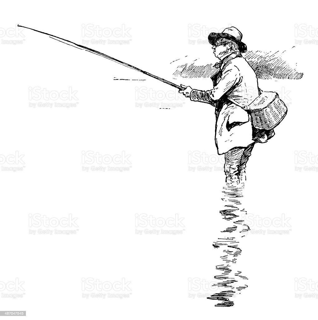 Victorian angler vector art illustration