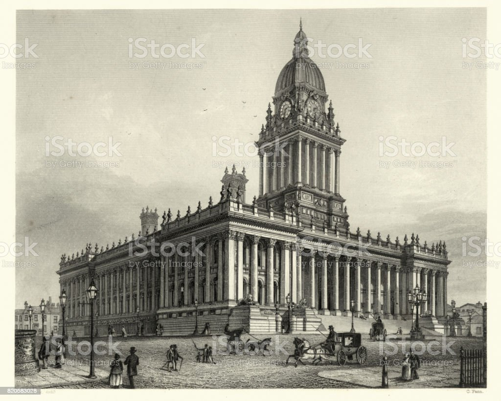 Victorian Architecture, Leeds Town Hall, 19th Century vector art illustration