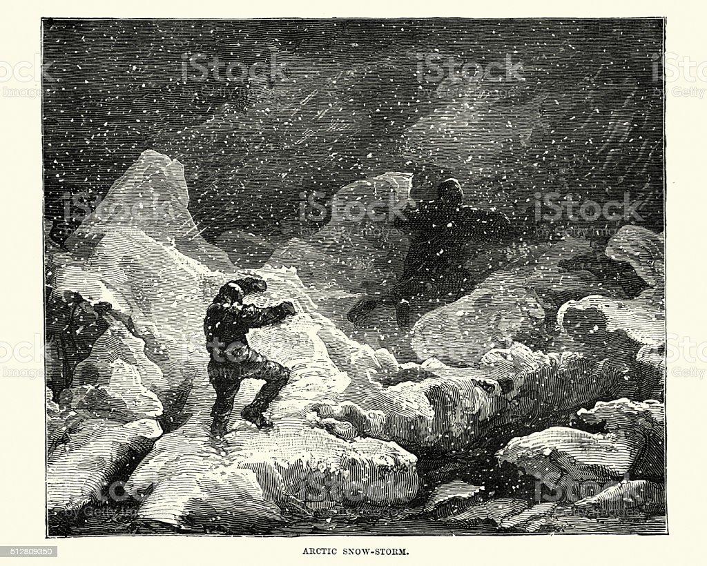 Victorian Arctic explorers in a snow storm vector art illustration