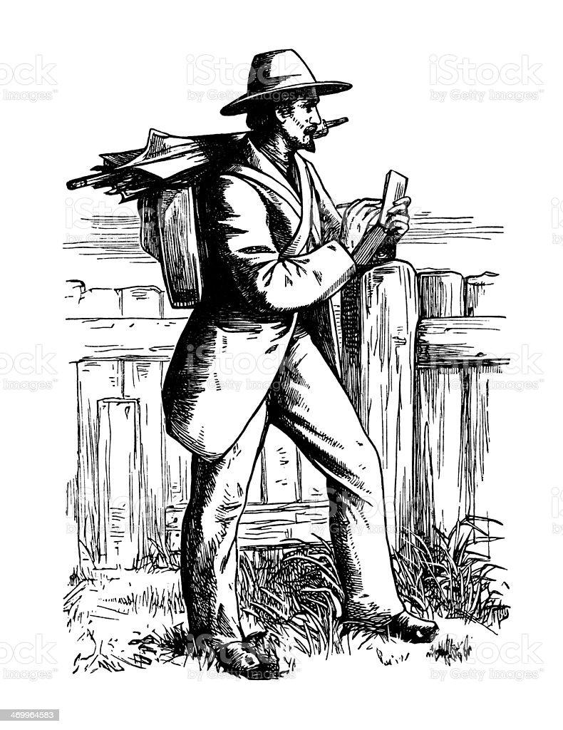 Victorian artist making a sketch vector art illustration