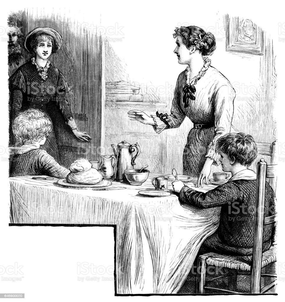Victorian Auntie arriving for tea vector art illustration