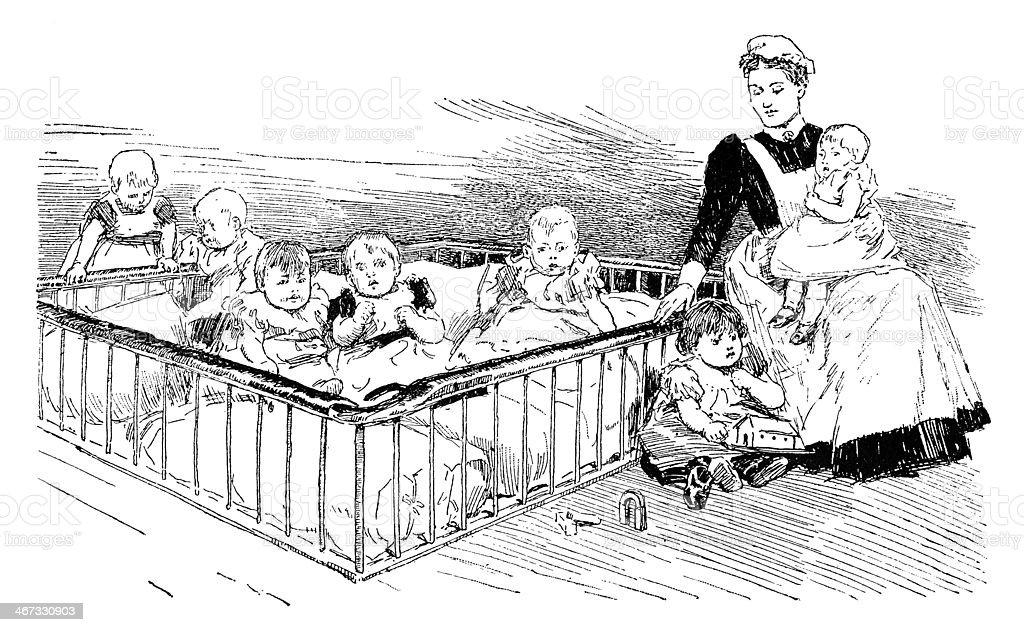 Victorian babies in a nursery vector art illustration