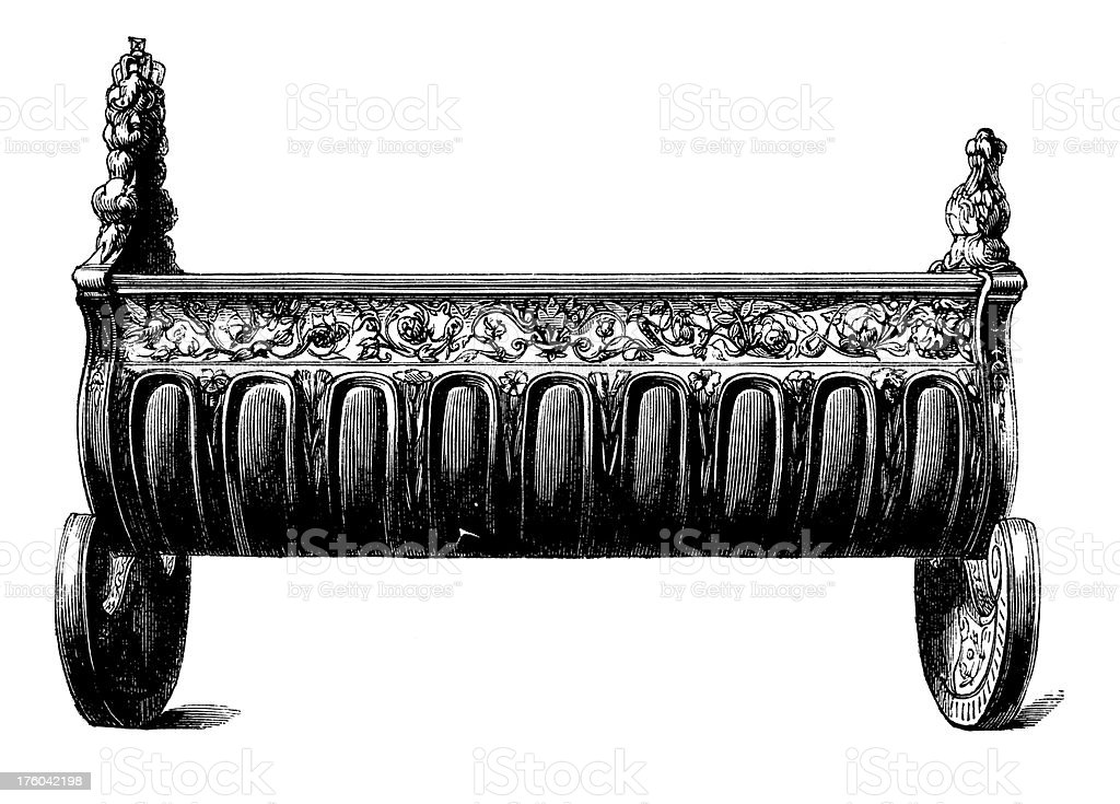 Victorian Baby Bed I Antique Design Illustrations royalty-free stock vector art