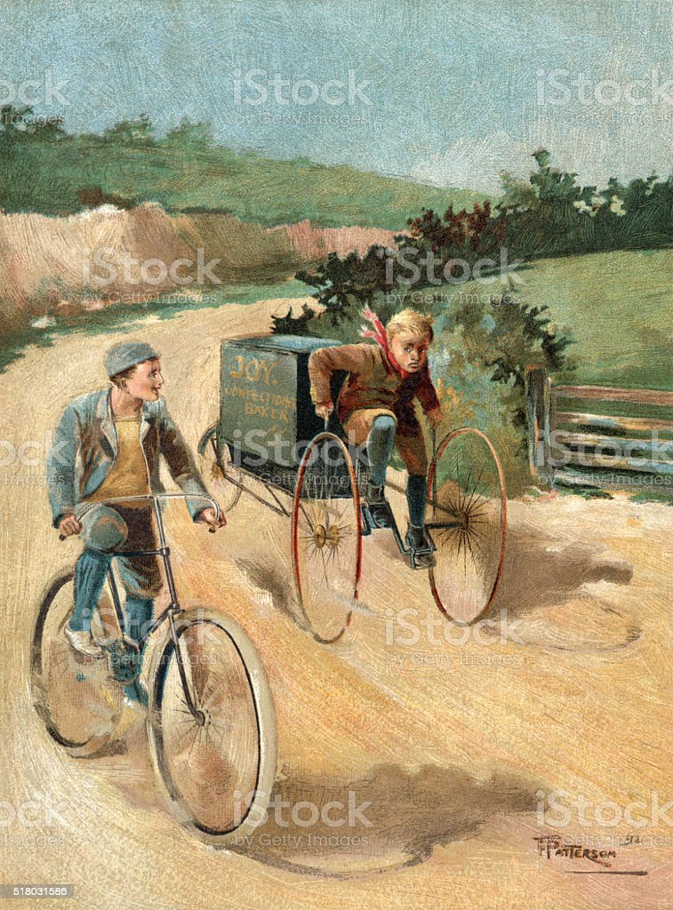 Victorian baker's delivery boy and friend cycling in a lane vector art illustration