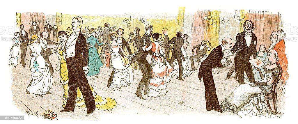 Victorian Ball vector art illustration