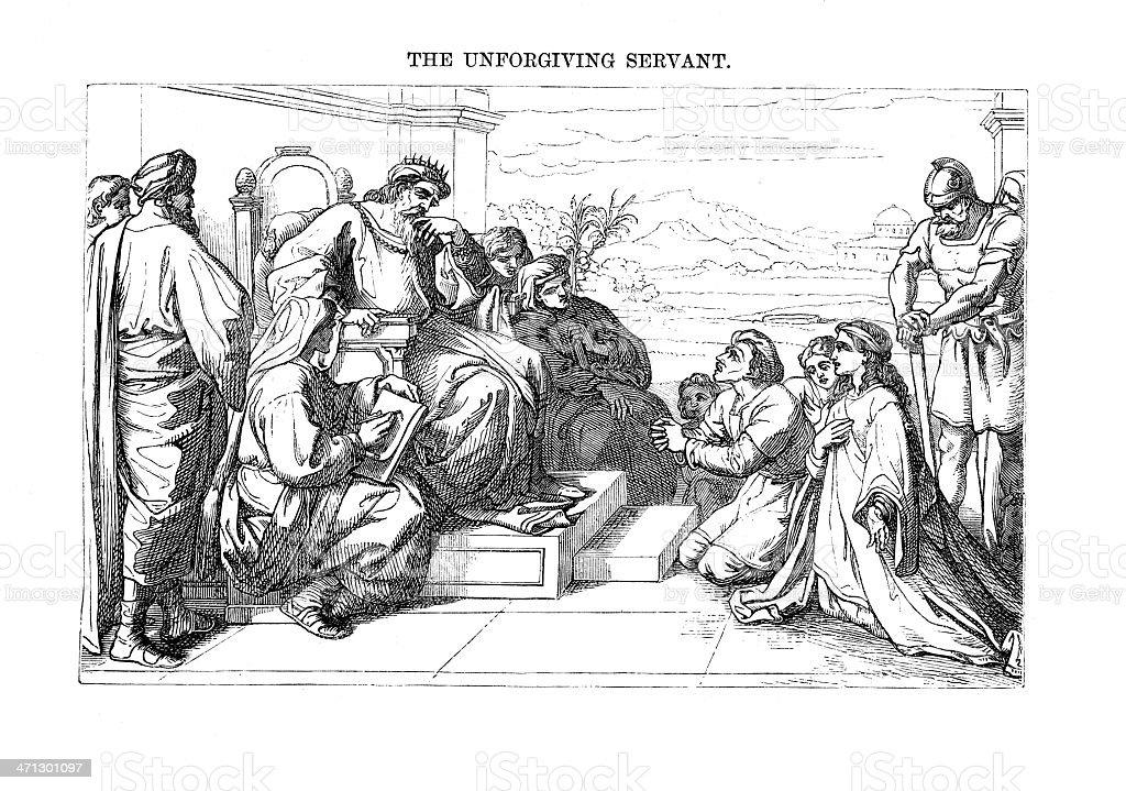 Victorian bible illustration  Parable the unforgiving servant vector art illustration