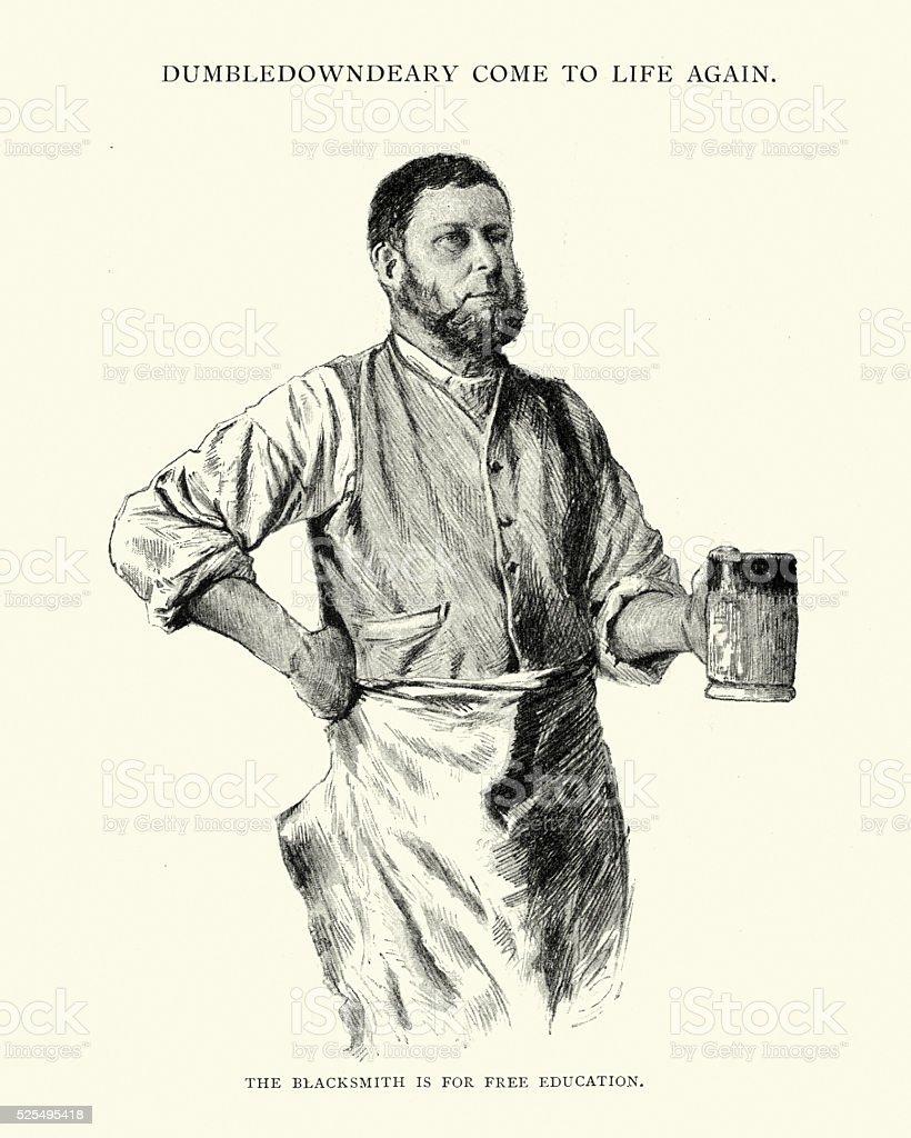 Victorian blacksmith drinking beer from a tankard vector art illustration