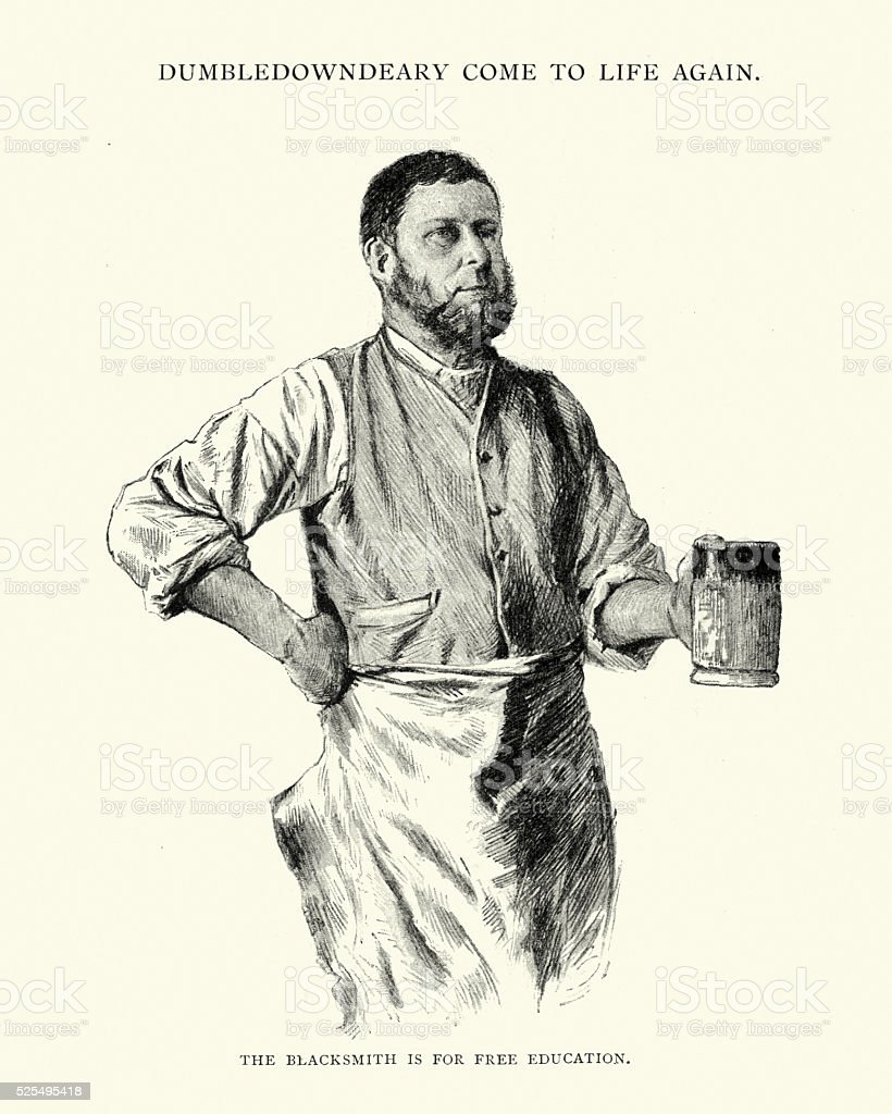 Victorian blacksmith drinking beer from a tankard vector art illustration