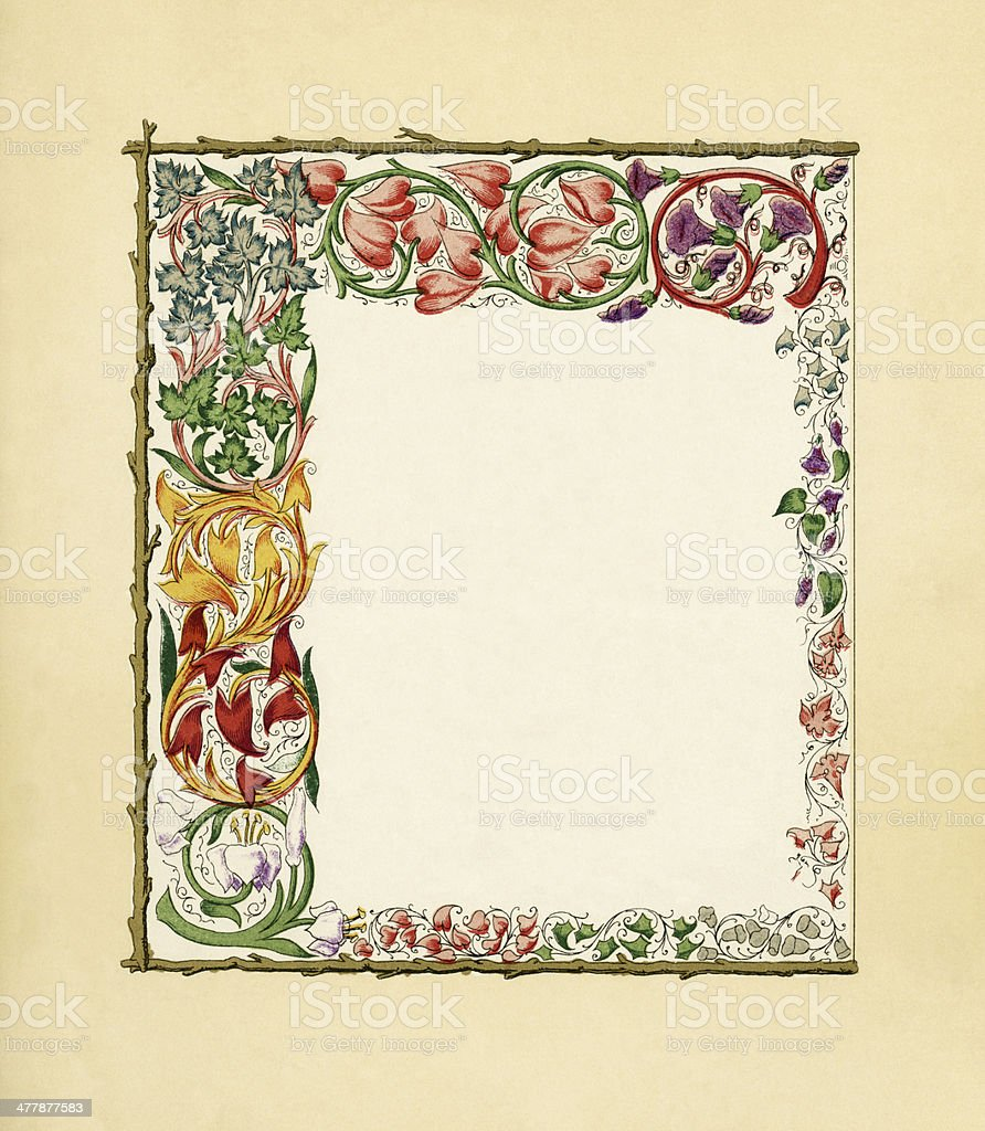 Victorian border with colourful vines royalty-free stock vector art