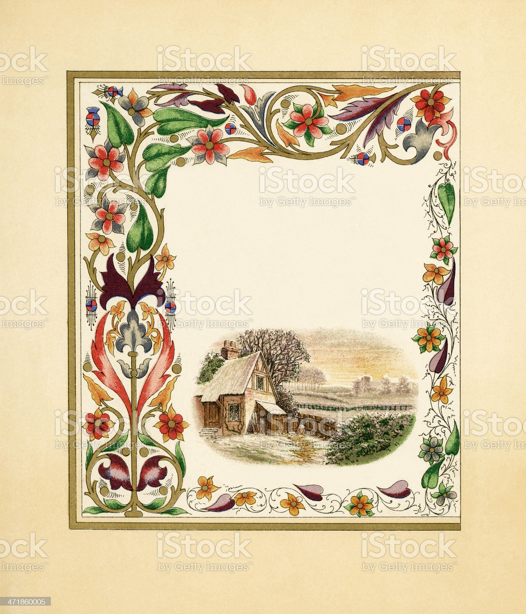 Victorian border with country cottage royalty-free stock vector art