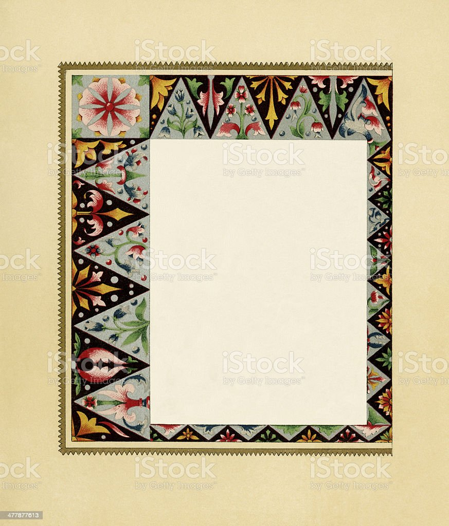 Victorian border with geometric and floral pattern royalty-free stock vector art