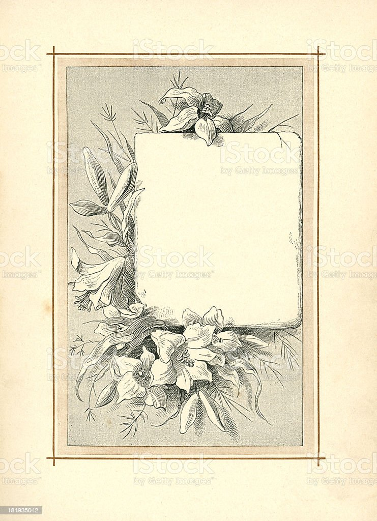 Victorian border with lilies (1883) vector art illustration