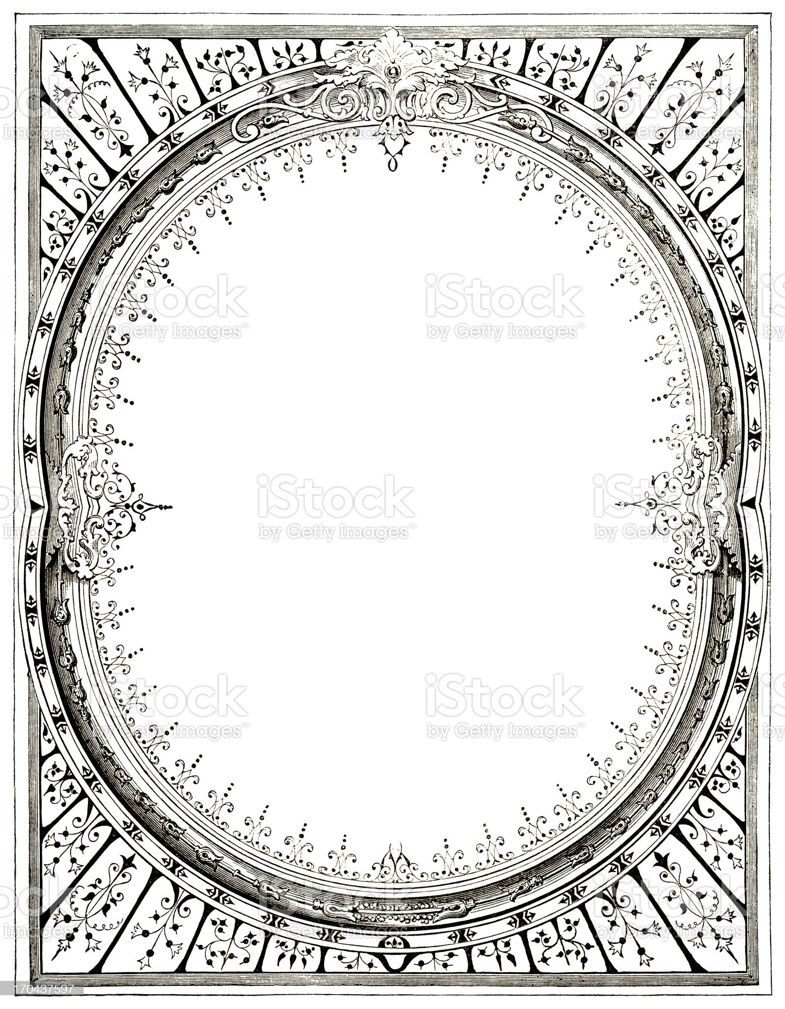 Victorian border with oval royalty-free stock vector art